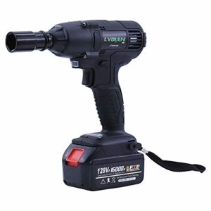 Clé à Chocs Sans Fil,520Nm 128VF Boulonneuse a Choc Electrique avec Batterie Lithium Et chargeur Clé à chocs sans balai, Avec lampe de travail à LED + 22 manches