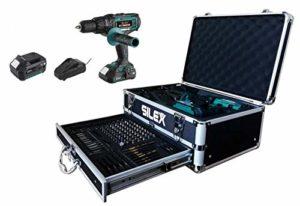 Coffret Perceuse visseuse percussion 20V avec 2 batteries Li-Ion (2Ah & 4Ah) + 110 accessoires Silex