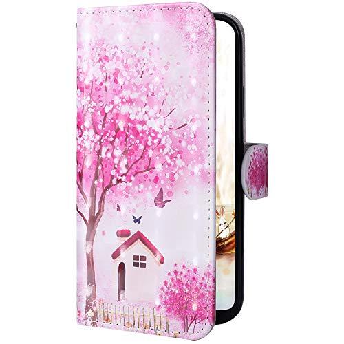 Coque Compatible avec Xiaomi Redmi K20 Pochette Portefeuille Coque PU Cuir Livres Flip Cover étui Bookstyle Support Coque à Rabat Magnetique 3D Effet Fleur Smart Case Coque Housse,Fleur Rose