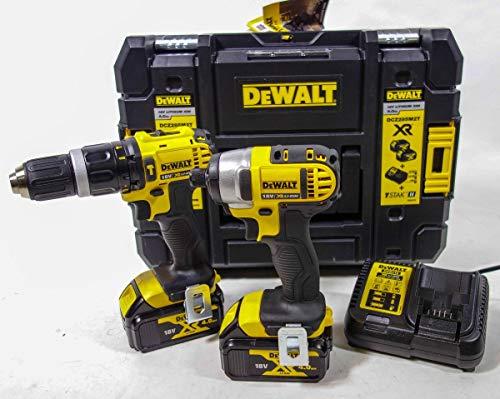 Dewalt DCZ285M2T Pack 2 Machines Perceuse Percussion + visseuse à Chocs + 2 Batteries 18V 4Ah Li-ION + Coffret Tstak