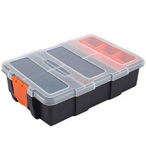 Inhemi Boîte de rangement en plastique à deux couches pour clous, vis et boulons