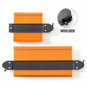 Jauge De Contour, HQQNUO 12.7cm et 25.4cm Elargir les Duplications de Relief Instant Copieur De Contour pour Coins, gabarits de menuiserie, carreaux et stratifié (Orange)