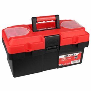 Maxpower Boîte à outils en plastique avec plateau amovible et double verrouillage 35,6 cm