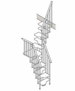Mister marchepied ouvert compacte escalier U noyer Gris Hauteur totale 281,0 ÷ 333,0 cm.