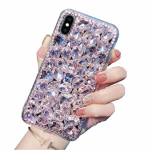 Nadoli Brillante Diamant Strass Cover 3D Pailleté Bling Transparent Filmy Difficile PC Retour + Doux Cadre Housse Étui Coque de Protection pour Huawei P40 Lite,Rose
