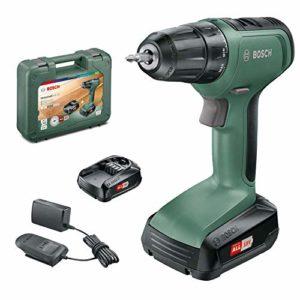 Perceuse-visseuse sans fil Bosch – UniversalDrill 18 (2 batteries 18V-1,5Ah et chargeur, livré avec deux embouts de vissage et coffret)