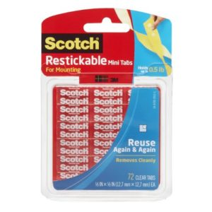 Scotch Restickable onglets, 12,7 mm x 12,7 mm (Jewellery London R103) – 1 Lot, onglets 72 par paquet