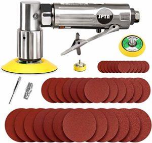 SPTA 80mm Ponceuse/polisseuse d'angle de Pression d'air de Ponceuse orbitale de Mini Rouge Droit Long + 12 pièces Tampon de ponçage de 80mm