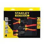 Stanley 4-84-489 Coffret De 4 Pinces Isolées 1000 V – Poignée Bi Matière Certifié 1000V – Taillant Trempés Haute Fréquence – Normes En 60900, Iec/CEI 900, Vde 0680