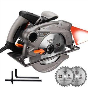 TACKLIFE Scie Circulaire, 1500W, lames de 185mm (24T et 40T), Guide Laser, Protection en Métal – PES01A