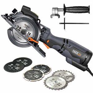 TACKLIFE Scie Circulaire Compacte, 6 Lames (120mm et 115mm), Guide Laser, 710W, Profondeur de Coupe 42,9mm (90°), 34,9mm (45°), Poignée en Métal, Polyvalente pour Bois, Métal Mou