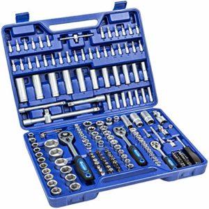TecTake Coffret de clés à cliquets de 171 pièces set compact clés à douilles 1/2, 3/8 et 1/4 pouce