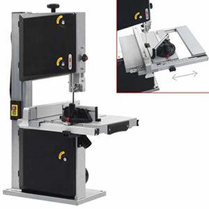 vidaXL Scie à Ruban Sciage Electrique Machine Atelier Garage Plateau Inclinable de 0 ° à 45 ° 2 Vitesses Bois Dur Tendre 245 mm