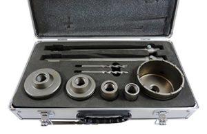 1Set de Couronne de Perçage en métal dur HM 30406580100mm 9pièces avec enregistrement Porte-outil SDS Plus 300mm et SDS Max 300mm dans un coffret Top