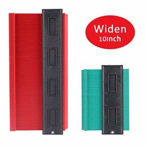 [2 Pack] Copieur de Contour en Plastique IDESION Outil pour Règle de Mesure Précise 13 x 26cm Rouge, 10 x 13cm Vert