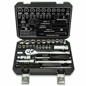52tlg beaucoup à dents «Gear Lock Profil Torx XZN Profil E Set 12pans 6pans–Harley–zöllisch–Douilles métriques 1/4& 3/8–Noix Embouts 4–19mm