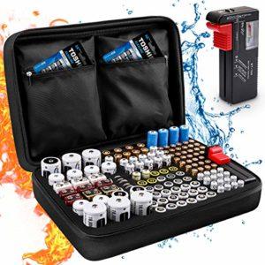 Boîte de Rangement de Batterie, Keenstone Organisateur de Stockage de Batterie avec Capacité pour 139 Piles AA AAA C D 9V – Venez avec Le Testeur de Batterie BT-168 (Ne Pas Inclure de Batteries)