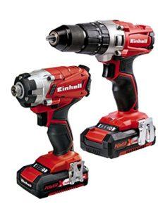 Einhell 4257214Power X-Change 2.0Ah 18V Combi Drill et Impact Driver–Lot de 2–Rouge