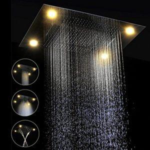 Gowe? écologique monté au plafond 600* 800mm Plusieurs Fonction Electric Light Pomme de douche pluie, Cascade, DE L'Eau Rideau, Mistfall