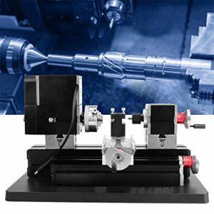 InLoveArts 20000Rpm 60W Mini tour à métal, 12V DC / 5A Hss Outil de tournage et couverture de protection de ceinture Outil de bricolage Outil de menuiserie en métal