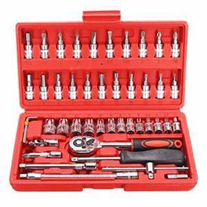 Installation et entretien, clé universelle 46 pièces 1/4″ outils de voiture Socket Set clé à cliquet Wrench kit main outils, résistance et durabilité