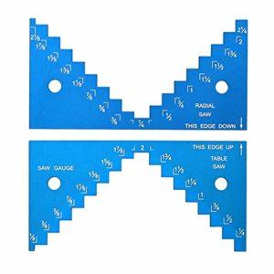 Jauge de profondeur 1/8 à 2-1/4 pouce en alliage d'aluminium lame de scie miniature outil de travail du bois DIY règle de mesure de scie de table – Bleu