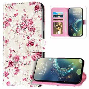 JAWSEU Coque Samsung Galaxy A30 Portefeuille PU Cuir Étui pour Samsung Galaxy A20,3D Motif Livre à Rabat Coque Housse Protection Magnétique avec Support Wallet Flip Case,Fleur rose