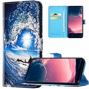 JAWSEU Coque Samsung Galaxy J4 Plus 2018 Portefeuille PU Cuir Étui,Rétro Motif Livre à Rabat Coque Housse Protection Magnétique avec Support Wallet Flip Case Cover,Vague de mer et soleil