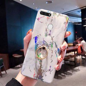 JAWSEU Huawei Honor 7A Coque Marbre,Huawei Honor 7A Coque Glitter Brillant Silicone TPU Gel Souple Étui Housse avec Support de Bague Ultra Mince Fine Antichoc Anti-Rayures Bumper Case,Blanc