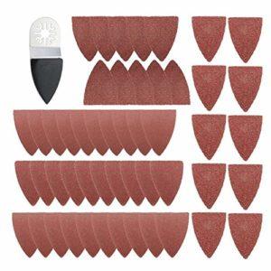 Jeu de lames 51pcs feuilles de ponçage de doigt multi-outils oscillants Pads papier ensemble for Fein Multimaster Bosch Accessoires de lame de scie