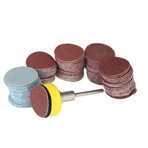 KKmoon 100PCS 25mm 1 » Disque de Ponçage disque 100-3000 Papier de Grain avec 1inch Plaque de Tampon Abrasif Polonais + 1/8″ Tige pour Outil Rotatif Dremel