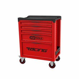 KS Tools 855.0005 – Servante d'atelier 5 tiroirs – Gamme RACING – Système de fermeture centralisée par serrure latérale – Double poignée de manoeuvre – Plan de travail en polypropylène