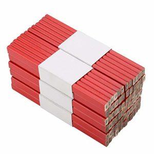 Lot de 72 crayons de menuisier, 175 mm, octogonal, noir dur, au plomb, pour le travail du bois, outil de marquage pour les constructeurs, menuisiers, métier, surface rouge