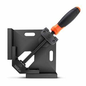 Pince à angle droit, TACKLIFE Pince à angle de 90 degrés, Machoire étau d'Angle reglable, Vis de broche tournante en acier au carbone pour connecter du bois, du métal et du verre – HAC3A
