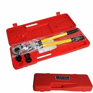 Pince à sertir TH Contour Pince à sertir avec 16 mm-20 mm-26 mm-32 mm Mâchoires de sertissage pour tuyau en PEX, tube composite
