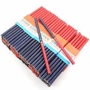 QABAWZ 10 Pièces/Crayon De Menuiserie À La Main Pour Outils À Main Bicolore Travailleur De La Construction Travail Du Bois Bleu Et Rouge Noyau Épais Crayon Rond