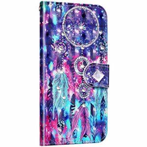 Saceebe Compatible avec Samsung Galaxy A30 / A20 Housse Portefeuille Cuir Étui Paillette Brillante Diamant Glitter 3D Coloré Motif Coque Flip Case Clapet Porte-Cartes Fonction Support,Plume