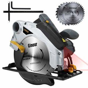 Scie circulaire,1500W Ginour Guide Laser, 4700 RPM, Coupant: 67mm (90°), 46mm (45°), 2 Lames 190mm (40T+24T), Interrupteur de Sécurité pour Couper Bois