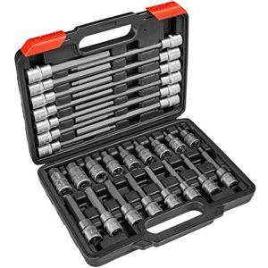 TecTake Ensemble de clé à douille embouts hexagonal intérieur longues/courtes | Coffret stable inclus – diverses modèles – (Type 3 | 30pcs longues/courtes | No. 402693)