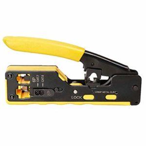 TOOGOO Tout en Un EZ RJ45 Outil Cable de Pince à Sertir Outils de Sertissage pour RJ45 Cat7 Cat6 Cat5 RJ11 RJ12 Modulaire Fiches Pinces en MéTal Pinces