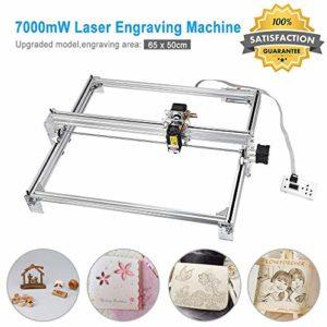 TOPQSC Kits de graveur laser bricolage CNC 7000mW Graveur laser de bureau, zone de gravure 650X500mm Imprimante laser ajustable découpant et découpant du papier plastique léger (7000mW/6550)