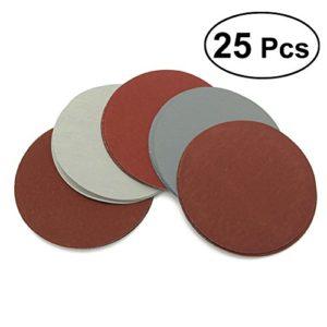 UEETEK 25PCS Disques de ponçage ronds Papier de Verre Ponceuse Papier Abrasif 1000/1500/2000/2500/3500(15*rouge+10*gris)