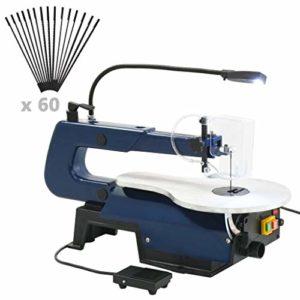 vidaXL Scie à Chantourner Electrique avec Pédale et Lampe LED Outils de Bricolage Découpe Travaux de Coupe Meulage Polissage Atelier 125 W