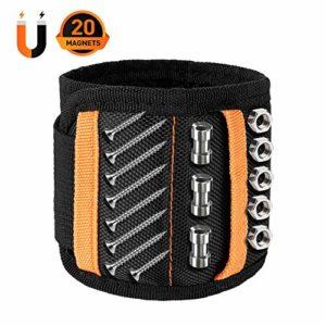 Bracelet Magnetique Homme Bricolage RéGlable avec 20 Aimants Super Puissants Bracelet pour Vis de Retenue, Ciseaux, Petit Porte-Outils, Petits Cadeaux pour Hommes, Papa, Mari