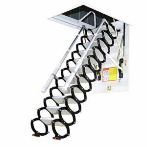 Échelle rétractable en métal pour Loft Home Échelle pliante d'escalier Grenier Échelle de charnière à charnière 2-4m (Height 3.8M,Hole 80cm*110cm)