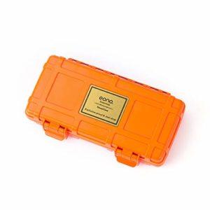 Eono Essentials – Coffret à cigares de voyage en cèdre, étanche et résistant aux chocs, pour 3 cigares maximum, Orange
