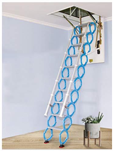 Invisible loft Ladder alliage Trou Rétractable Pliant grenier Escaliers Pull Down Plafond échelle Charnières 2M-4M (Trou 60cm*120cm,Élevé 3.2M)