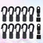 iplusmile Le Terminal Élastique de 12 Pièces Se Termine par Des Crochets à Onglets Noirs pour Un Élastique à Utiliser sur Les Kayaks (10 Crochets de Type A Et 2 Crochets de Type B)