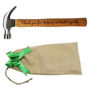 LANGXUN Cadeau de fête des pères «Thank you for helping me build my life» Marteau en acier avec manche en bois gravé / Cadeaux personnalisés Cadeaux d'anniversaire
