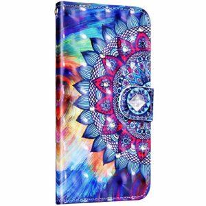 Saceebe Compatible avec Samsung Galaxy S9 Plus Coque Cuir Housse Coloré Motif Paillette Brillante Diamant Strass Pochette Portefeuille Etui Coque à Rabat Magnetique Flip Case,Mandala Fleur